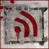 azurelunatic: An RSS feed symbol, fingerpainted on concrete in blood. (zombies, FEED)