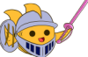 i_am_a_fish: A goldfish dressed up as a knight, holding a pink plastic sword. (Default)