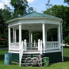 bikingandbaking: Photo of my road bike leaned against a gazebo (you must face the gazebo alone)