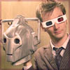 shyfoxling: tenth doctor with 3D glasses holding a cyberman's head (doctor who (ten and cyberhead))