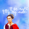 """tai: Gwen (BBC Merlin) looking determined in a red cloak against a blue sky with """"you'll be right by my side"""" in text above (right by my side)"""