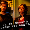 "yvi: John and Elizabeth, text: ""uh-oh, Mommy & Daddy are angry"" (Atlantis - Angry Parents)"