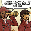 "metaphortunate: pirate saying ""I need a convoluted narrative to really get off"" (get off)"