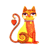 mmouse15: Orange Laurel Burch type cat (Cat with heart on tail)