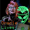"cmshaw: DC: Barbara Gordon with a laptop and the Oracle mask behind her, captioned ""ORACLE LIVES"" (Oracle Lives)"