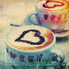 teigh_corvus: Two lattes in cups, chocolate hearts drawn on the milk foam. ([Misc.] [Love] Coffee <3)