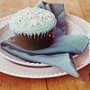 amadi: A chocolate cupcake with blue icing on a plate with a matching blue napkin (Cupcake!)