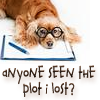 """independence1776: A dog wearing glasses resting its head on a notebook, thinking, """"Anyone seen the plot I lost?"""" (Lost plot dog)"""