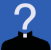ewt: White question mark, the dot of which forms visible part of clerical collar on black shoulders & neck (clerical)