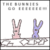 "amadi: Cartoon bunnies look frazzled with a pile of paperwork, with the caption ""The bunnies go EEEEEEE!!!"" (Bunnies go Eeee)"