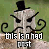 "revolutions: A fence-post with a top-hat, evil eyebrows and a twirly moustache drawn on in MS Paint, captioned ""this is a bad post"". (this is a bad post!)"