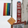 nakedbee: view of Castro Theater sign and rainbow flag (castro)