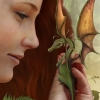 merryrogue: Woman holding a small dragon curled around her hand. (Default)