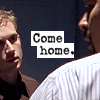 wordsatourbacks: mike staring at meldrick, the left side of meldrick's face in profile. text in center of icon: 'come home.' (your name all over the wallpaper)