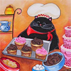 outlineofash: Artwork of a cat wearing a chef's hat and holding a tray of cupcakes. (Sundry - Kitty Baker)