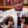 "metatxt: captain holt holds puppies and looks disappointed. text reads ""you have disappointed all three of us"" (b99: you have disappointed all three of)"