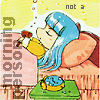 weylewey: Manga image of Umi from Magic Knight Rayearth, asleep, a hammer in her hand and a broken alarm clock at her side (morning)