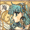 weylewey: an art nouveau style manga image of Umi from magic knight rayearth, the Japanese character for her name in the corner (nouveau)