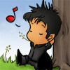 kate: chibi!John relaxing, back against a barn, wheat in his mouth, music note above his head (SGA: John relaxing with music chibi)