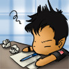 kate: chibi!John prostrate on his desk, annoyed at paperwork (SGA: John annoyed at work chibi)