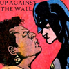 lilacsigil: Amanda Waller and Batman looking angry, text: Up Against the Wall (Waller vs Batman)