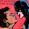 lilacsigil: Amanda Waller and Batman looking angry, text: Up Against the Wall (Waller vs Batman)