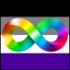 vladdraculea: Rainbow Autistic Pride lemniscate over the black, grey, white, and purple stripes of the Asexuality Pride flag (Default)
