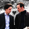 helens78: Charles on the left in a button-down shirt and jacket, Erik on the right in turtleneck and leather jacket, heart between (x: charles/erik compound heart)