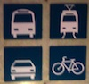 tim: 2x2 grid of four stylized icons: a bus, a light rail train, a car, and a bicycle (travel, public transportation)