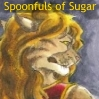 "elizabethmccoy: A feline-humanoid face in profile, looking disgruntled. Titled ""Spoonfuls of Sugar"" (Spoonfuls of Sugar)"