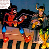 highways: [Marvel's Spiderman and Loki sitting on a NYC rooftop, eating hotdogs and talking.] (MARVEL ☌ loki lord of foot longs)