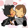 lilyleia78: Chibi John kissing Chibi Rodney's temple (SGA: Team Sheppard)