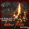 "subluxate: A shot of a bonfire in the 4077 with the caption, ""Keep the home fires burning"" (M*A*S*H: home fires)"