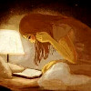 ramonaforever: Somewhat impressionistic image of girl sitting on a bed reading. (book, girl, lamp)