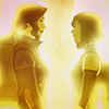 such_heights: korra and asami facing each other bathed in golden light (avatar: korrasami [golden light])