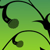 podfidic_mod: a vine growing microphones; black on green (mic)