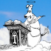 sylleptic: Canine St. Peter at the gates, wagging tail (comics; Non Sequitur; St Peter)