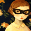 nightdog_barks: Illustration of a young girl wearing a cat mask bandit-style (Mask Girl)
