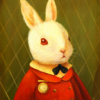 nightdog_barks: Illustration of a white rabbit dressed in a formal red coat (Redcoat Rabbit)