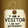 "rhiannonsystem: A tag with ""I am a visitor, I am not permanent"" written in black on a brown background (Default)"