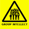 rising: triangular yellow warning sign with many people bodies: group intellect (the cadre: group intellect)