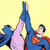 benedict: Superman and Batman high-fiving like bosses (comics high five)