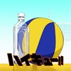dirt_dessert: bottle and ball beside each other (bottle and ball)