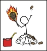 azurelunatic: stick figure about to hit potato w/ flaming tennis racket, near jug of gasoline & sack of potatoes (what could go wrong, bad idea, XKCD, That Idiot Shawn)