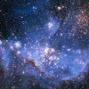 alexseanchai: Blue nebula with lots of white stars (Blue star-cluster nebula)