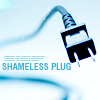 belle_meri: Power plug on a pale blue background captioned 'Shameless Plug'. (Shameless Plug)