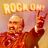 "shyfoxling: Delgado!Master throwing horns with text ""Rock on!"" (doctor who approve (master rock on))"