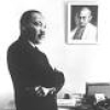 adulthoodchallenge: Famous photo of Dr. King's office with a photo of Gandhi above his desk (Gandhi) (Default)