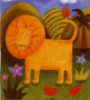 catchmyfancy: cheerful and happy primitive-style picture of a lion in a savannah landscape (rowr)