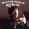 "apollymi: Sherlock looking excited, text reads ""This is so going on my blog"" (BBCSher**Sherlock: Going on my blog)"